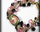 Statement Flower Bracelet Crystal Cluster Bracelet Russian Hand Painted Bracelet Pink Black Jewelry Beaded Bracelet Lady Bug Jewelry