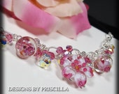 pink white jewelry lamp work flowers wire wrapped bracelet flower bracelet flower jewelry rosebud dangle earrings statement charm bracelet
