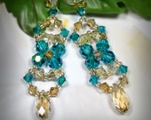 bridal teal and gold crystal earrings, wedding gold earrings, chandelier earrings, wedding bridal jewelry