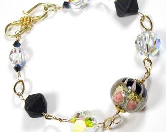 lampwork bracelet wire wrapped bracelet flower bracelet pink black jewelry flower jewelry lamp work jewelry crystal lamp work bracelet cuff