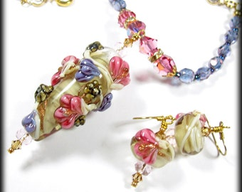 Flower necklace lampwork necklace beaded necklace lampwork jewelry flower jewelry flower bead earrings statement necklace GIFT FOR MOM