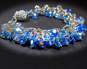 rhinestone encrusted heart bracelet sapphire blue crystal cluster bracelet aurora borealis crystal bracelet