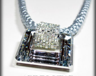 silver square crystal pendant necklace kumihimo necklace kumihimo jewelry crystal necklace beadwork necklace modern statement pendant