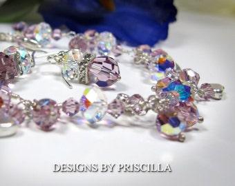 Dazzling Bridesmaid bracelet, crystal bracelet set, Lavender and Aurora Borealis crystals on fine sterling silver