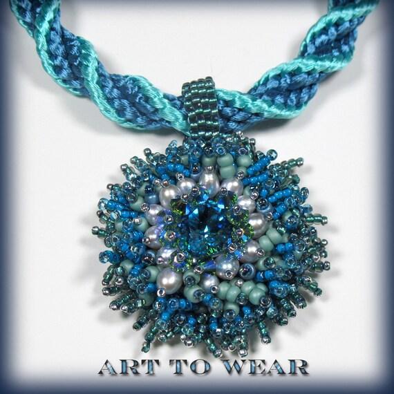 beaded pendant necklace teal blue jewelry boho chic necklace beadwork necklace statement necklace handmade jewelry swirl kumiihimo jewelry