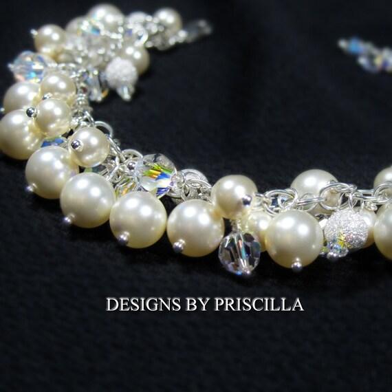 Cream Ivory Swarovski Pearl Bracelet, Chunky Cluster Bracelet, Sterling Silver Bracelet - gift earrings