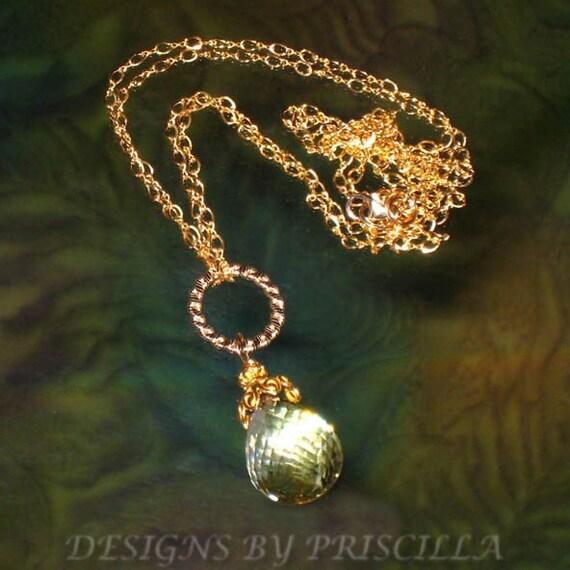 SALE - lemon yellow quartz stone pendant necklace