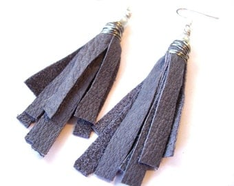 Delicate Romantic Recycled Leather Tassel Fringe Earrings in lavender gray Mini