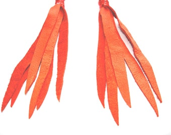 Extra Long Recycled Leather Tassel Fringe Earrings in Pumpkin Orange - small