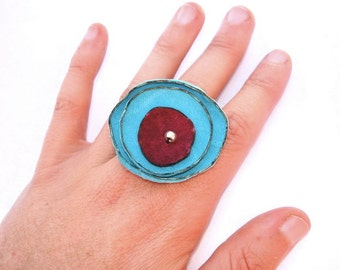 Recycled Leather Poppy Ring in Light Peacock Blue and Crimson