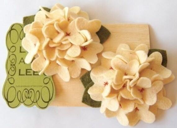 Cream felt hydrangea clips with hand sew centers