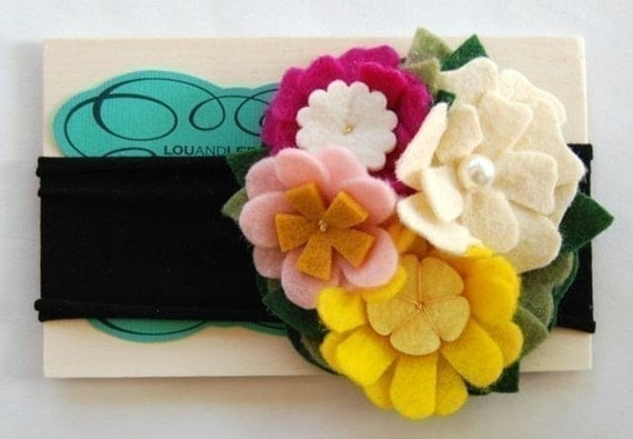 Summer garden felt flower headband