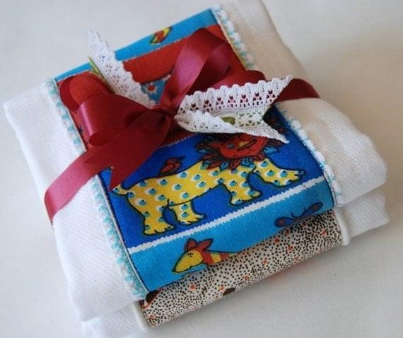vintage fabric and trim burp cloth gift set