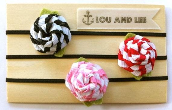 Felt flower headband set-Itty bitty newborn candy stripe