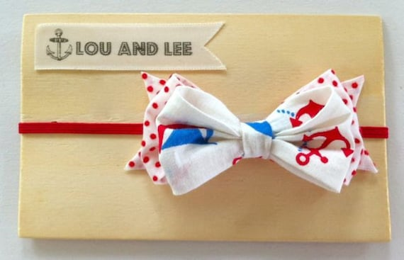 Nautical baby headband  - with vintage swiss dot fabric and anchor fabric