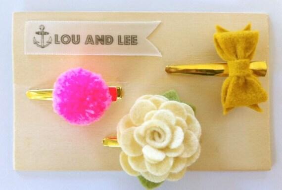 Felt flower clips- Felt bow - Itty bitty handmade pom pom,bow and flower with gold alligator clips