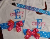 Personalized Monogrammed Onesie, Bib and Personalized Pacifier Clip Gift Set LOTS of STYLES and COLORS Create Your Own