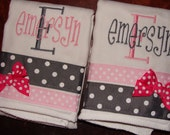 Set of TWO Burp cloths BOY GIRL  Lots of Styles and Colors CReAtE your own