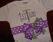 Personalized Monogrammed Layette OR Tshirt with Ribbons and Bows LOTS of sTyLeS and CoLoRs