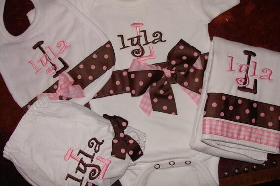 As Is Clearance LyLA  Lyla  Personalized Baby Gift Set Bib Burp Onesie and Bloomer READY to SHIP  LYLA