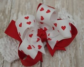 Valentine Headband Boutique Headband White With Red Hearts Layered Infant/Toddler Valentines Day Hair Bow Bowband