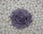 Chiffon Flower Hair Clip Gray Frayed Shabby Chic Rosette Fabric Flower Clippie