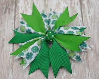 """Boutique Pinwheel Spikes St. Patrick's Day 4"""" Hair Bow Shamrock Green"""
