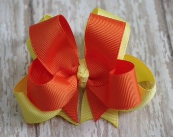 """Hair Bows Custom Set of 2 Boutique 4"""" Double Layered Hairbows You Choose Colors"""