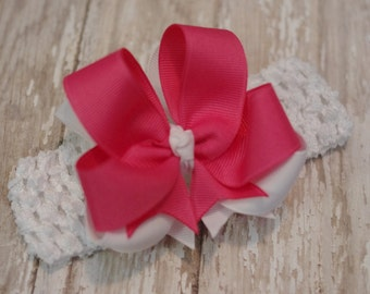 Boutique Headband Hot Pink & White Layered Infant/Toddler Bowband