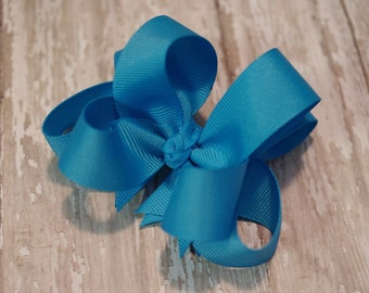 "4"" Turquoise Boutique Layered Hair Bow Turquoise Girls Hair Bow Turquoise Toddler Hair Bow"