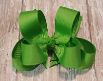 """Hair Bow Apple Green 4"""" Boutique Layered Hairbow Green Girls Hair Bow Green Toddler Bow"""