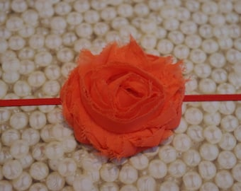 Orange Infant and Toddler Headband Shabby Chic Flower Headband Skinny Elastic Headband