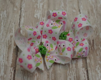 Owls Girls Hair Bows Pink & Green Boutique Pigtail Set of 2 Hairbows