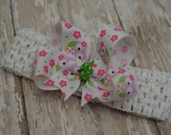 Baby Owl Headband Infant/Toddler Bowband Hair Bow Pink & Green