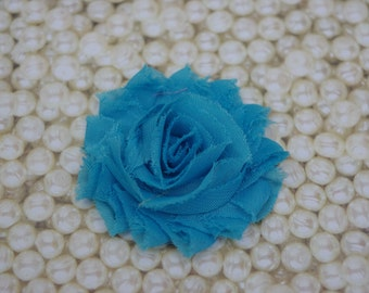 Chiffon Flower Hair Clip Turquoise Frayed Shabby Chic Rosette Fabric Flower Clippie