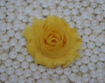 Chiffon Flower Hair Clip Bright Yellow Frayed Shabby Chic Rosette Fabric Flower Clippie