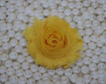 Chiffon Flower Hair Clip Bright Yellow Frayed Shabby Chic Rosette Fabric Flower Clippie
