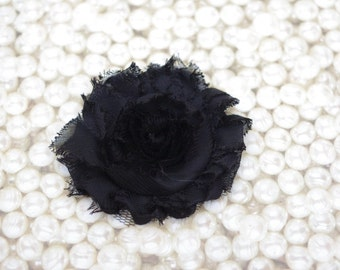 Chiffon Flower Hair Clip Black Frayed Shabby Chic Rosette Fabric Flower Clippie