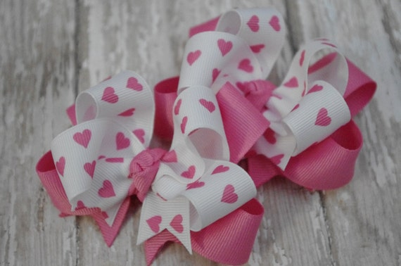 Hair Bows Pink Hearts Layered Pigtail Set of 2 Hairbows Boutique Valentines Day Heart