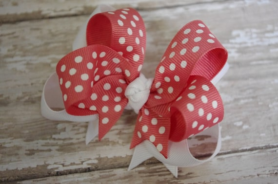 "15% OFF SALE~Boutique Layered Coral and White Dot 4"" Hair Bow"