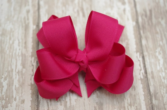 "Girls Hair Bow Shocking Pink Double Layered 4"" Boutique Hairbow Pink Girls Hair Bow Pink Toddler Hair Bow Pink Baby Hair Bow"