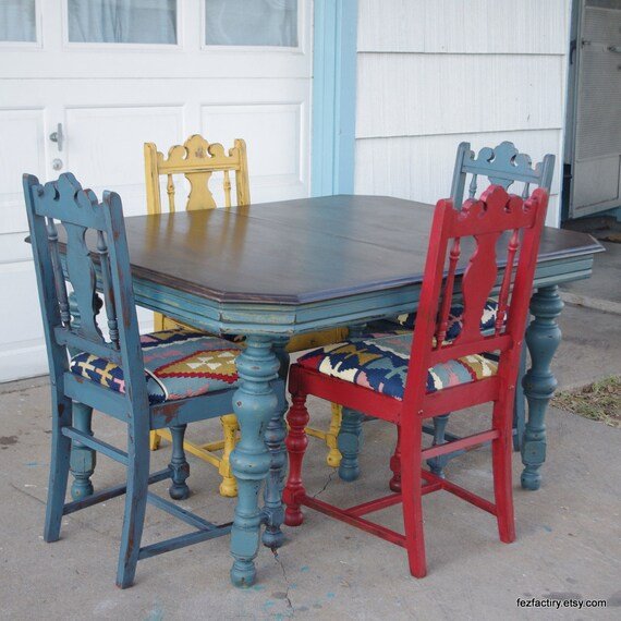 Ornate Vintage Dining Table And Four Chair Set By Fezfactiry