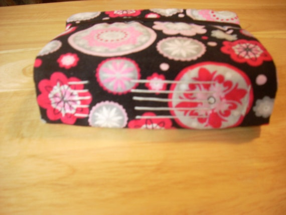 pink designs on black corduroy hand bound journal-clearance