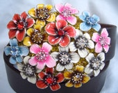 BUTTERFLY BUCKLE swarovski crystal enamel spring flowers plus leather belt