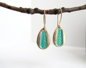 Feather Stamped Gold Teardrop Earrings with Aqua Green Patina