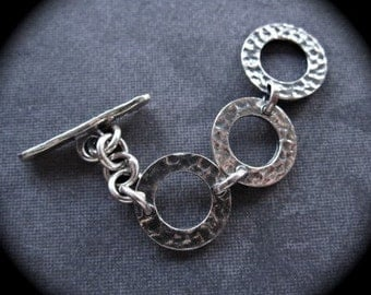 Mini Adjustable Toggle Clasp in Sterling Silver - Hammered texture