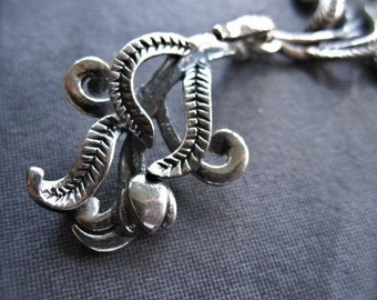 Sterling Silver Clasp - Romantic Botanic artisan Hook and Eye Clasp - single strand necklace clasp