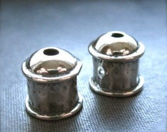 Solid sterling silver Hammered Bullet End Caps - 6mm hole - 7mm X 9mm