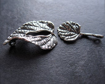 Sterling Silver - Forest Leaf - toggle clasp - artistically designed unique finding