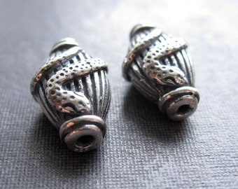 Curled Snake Sterling Silver Accent Beads - 2 - focal beads - 13mm X 8mm - double sided design